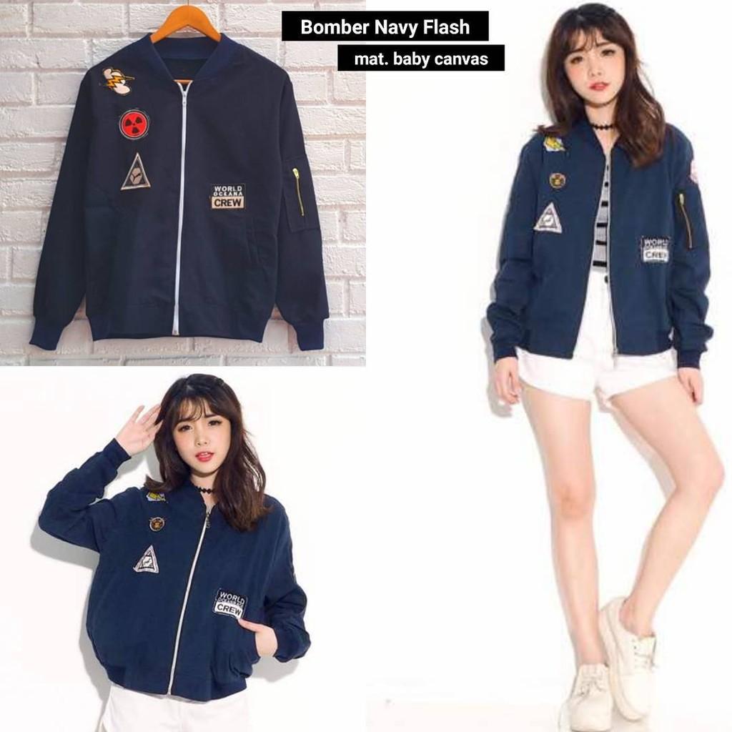 Flash Sale Termurah Jaket Roses Wanita Shopee Indonesia  Blazer Denim Pakaian Navy L