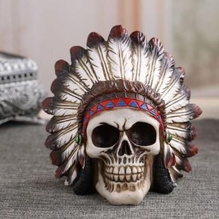 👍Good!Halloween Funny Scary Indian Resin Skull Decoration Skull Head Model  Figurine