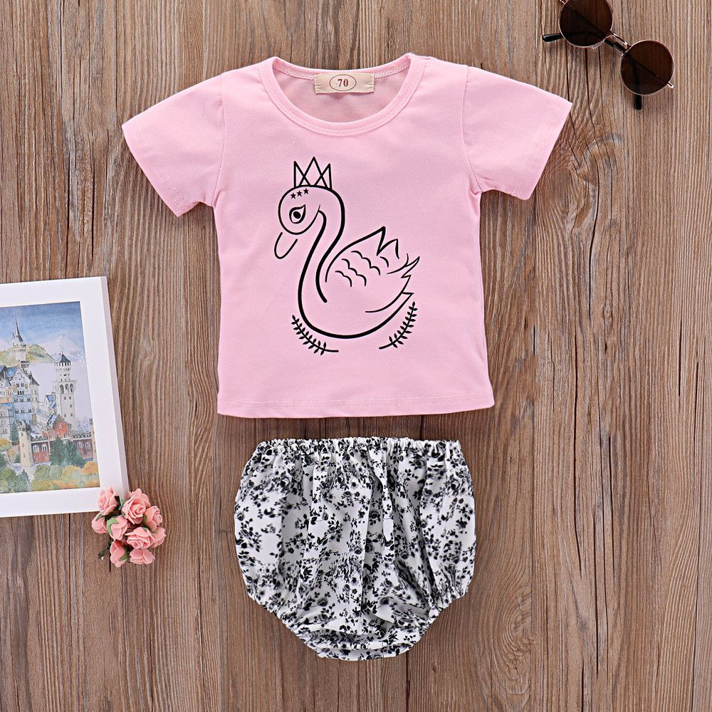 2PCS Sets Fashion Bottom Tops Outfit Clothes Floral Short Pants Haren Baby Clothing Swan T-