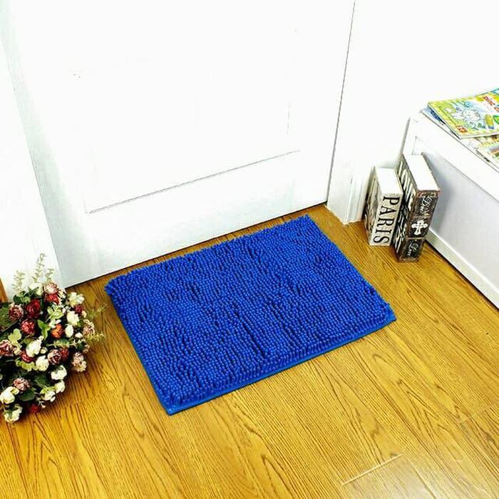 Keset Cendol Dof Biru 40 x 60 cm / karpet bulu / doormat chenille blue murah | Shopee Indonesia