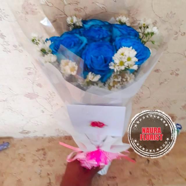 Bunga Wisuda Buket Bunga Mawar Biru Shopee Indonesia