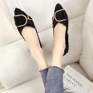 Net red single shoes female autumn wild suede pointed flat shoes Korean fashion chic Lok Fu shoes ti
