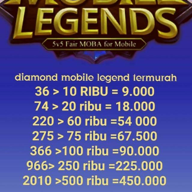 Diamond Mobile Legends Termurah Terpercaya 74 Diamond