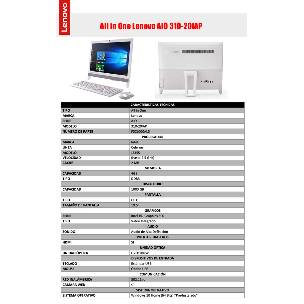 Lenovo Aio 510 22ish 0fid 4gb Intel Core I5 White Pc All In One S200z 2pia J3060 2gb 500gb 195 Dos 310 20iap J3455 Win10