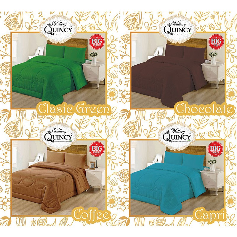 BEDCOVER + Sprei Polos 200x200 Tinggi 30 QUINCY VALLERY warna - Super King 200 - Internal - BC VAL | Shopee Indonesia