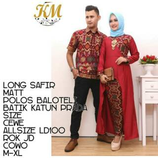 Long Safir Couple Batik Modern Terbaru Kebaya Muslim Hijab Kemeja