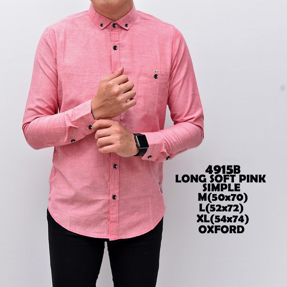 Kemeja Lengan Panjang Pria / JIGGY TOP Pink | Baju Kantor Polos CASSUAL, Bahan Streetch | Shopee Indonesia