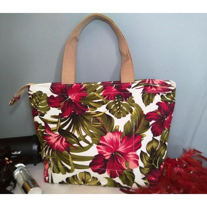 Hand Bag Kanvas Premium Jumbo Motif Bunga Sepatu Merah Shopee Indonesia