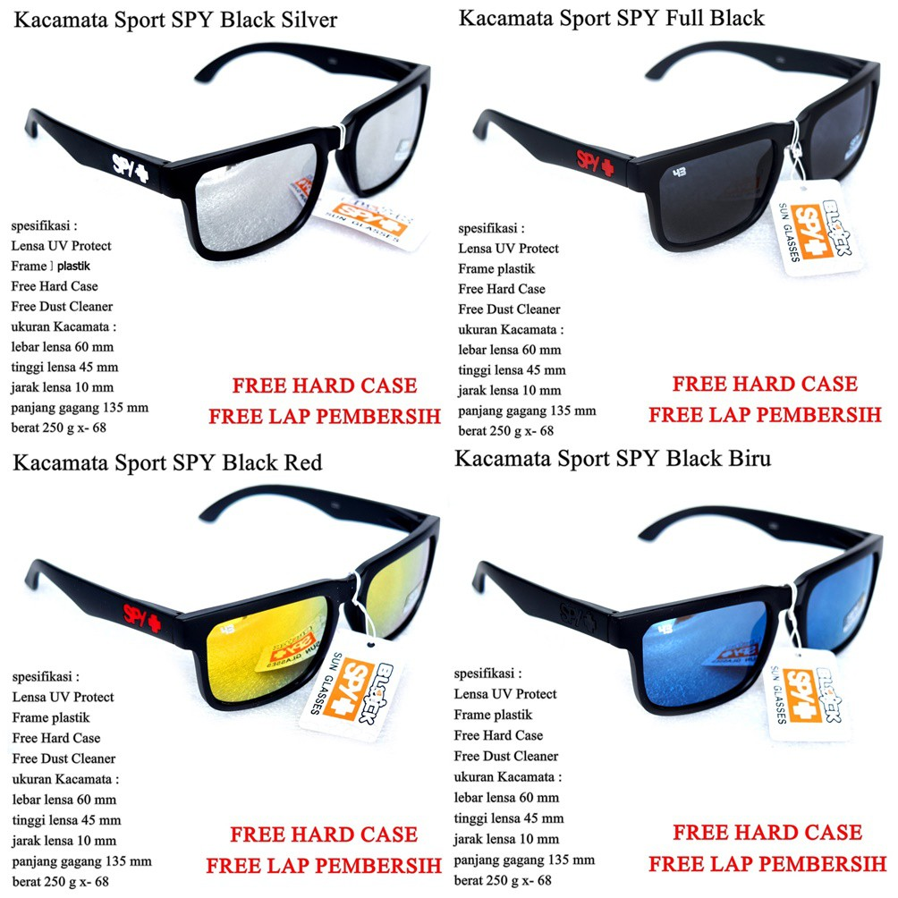 274c820d0 Kacamata Murah Sunglasses SPY Black | Shopee Indonesia