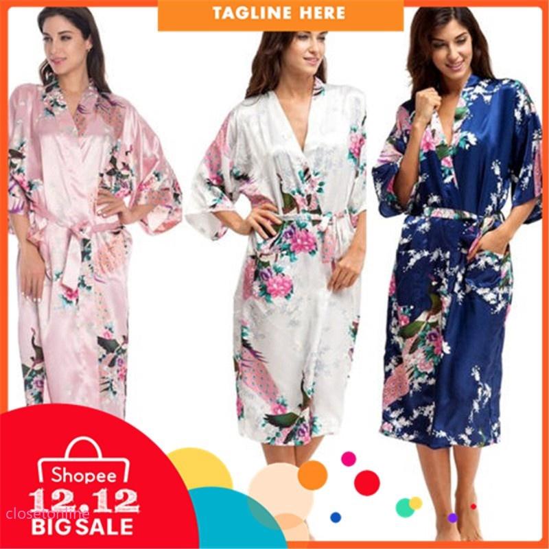 2049024b8f CL✿✿ Women Floral Silk Satin Kimono Bathrobe Robe Wedding Bridesmaid  Sleepwear