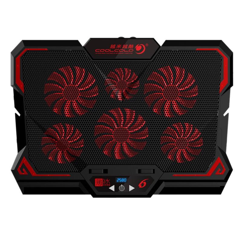 Coolcold Gaming Laptop Cooler Six Fan Led Screen Two Usb Port 2600rpm Laptop Cooling Pad Notebook Stand For 12 17inch For Laptop Shopee Indonesia