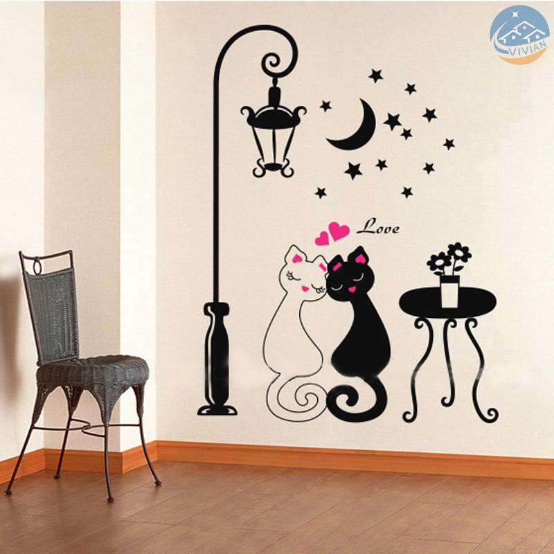 Vian Cute Couples Cats Cartoon Wall Sticker Kids Children S Room Decor Shopee Indonesia
