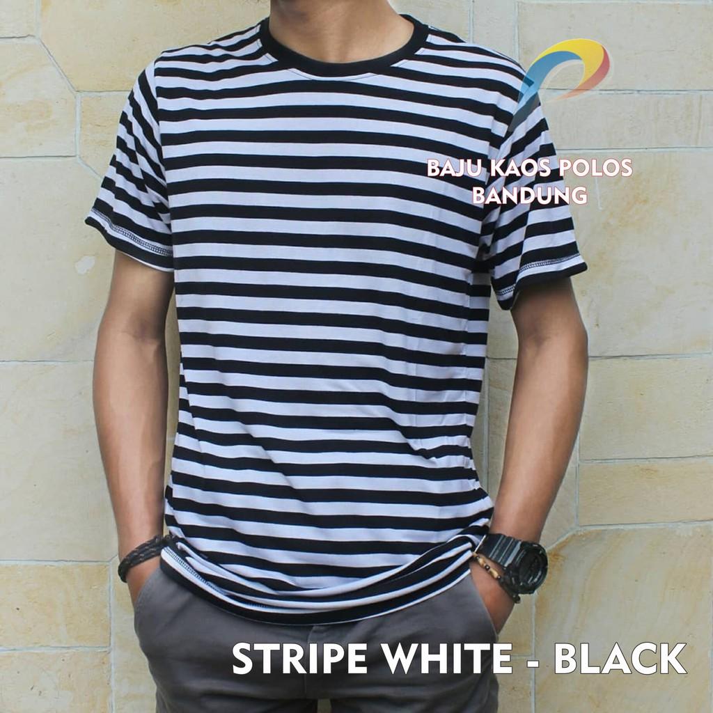 Kaos Polos Stripe White Navy Lengan Pendek Cotton Rayon Premium Big Black Distro Baju Murah Pria Wanita Shopee Indonesia