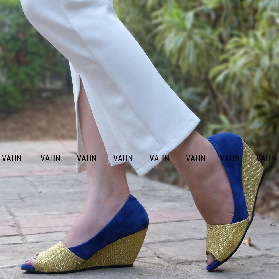 Vahn AINA Sepatu Wedges Wanita Casual Formal Pesta Glamour Glitter Electric  Biru Hitam AL11  c19e35ddda