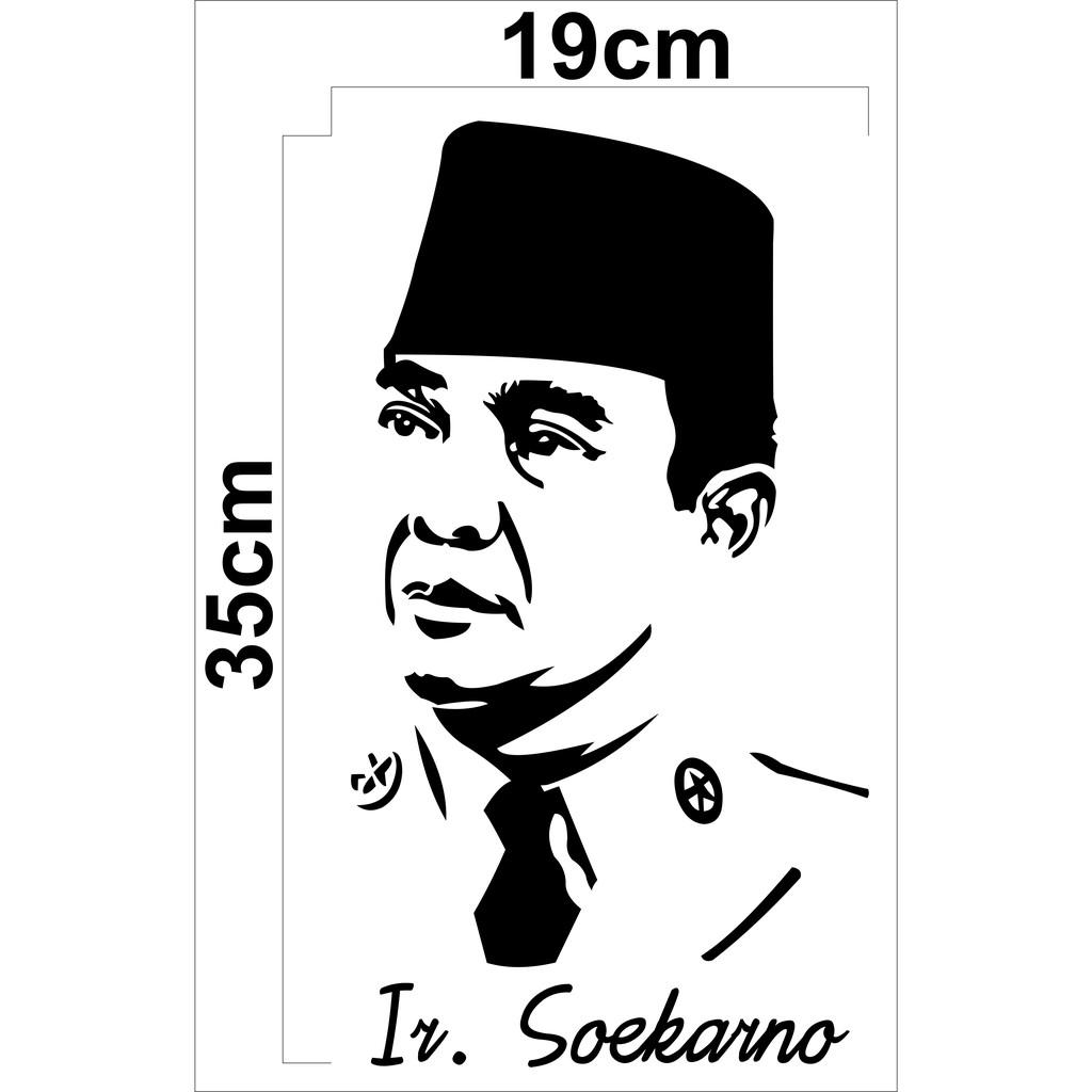 Stiker Cutting Gambar Sketsa Ir Soekarno Stiker Kaca Belakang Mobil Shopee Indonesia