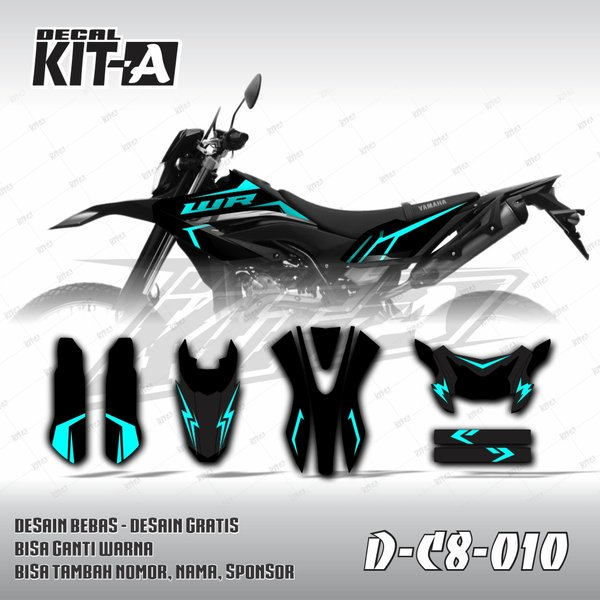 Decal Stiker Yamaha WR 155 Dekal Variasi Sticker Striping Custom Full Body Tosca Hitam C8-010