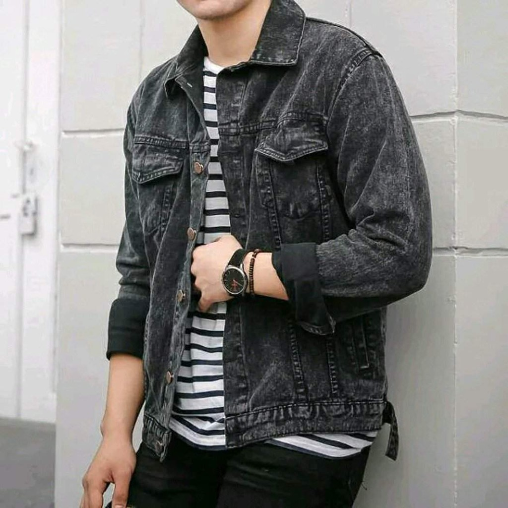 FREE ONGKIR) Jaket Jeans Pria l Jaket Levis Pria l Jaket Denim Pria  Sandwash Black l Blackwash | Shopee Indonesia