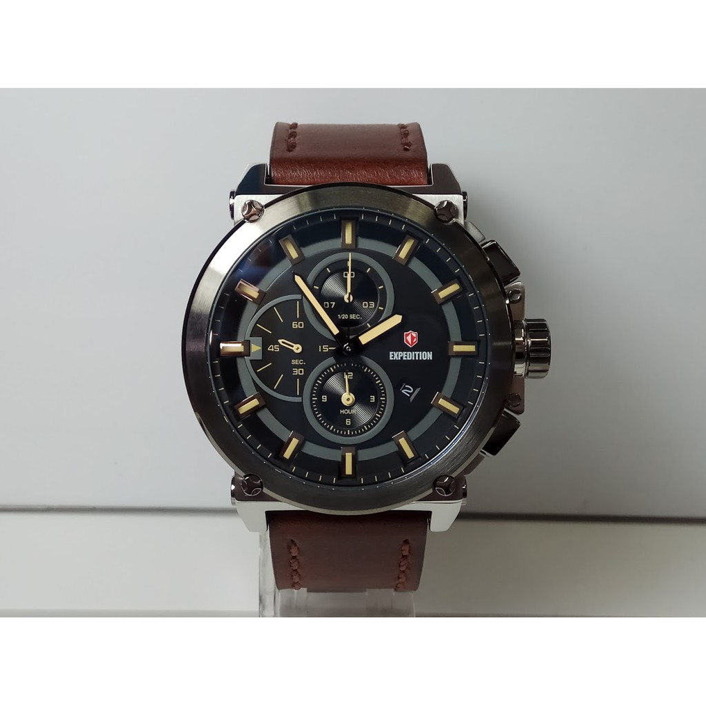 Expedition Jam Tangan Pria E6681m Chronograph Black E6318m Rose Gold Dark Brown E6402mc Silver Stainless Steel Leather Shopee Indonesia