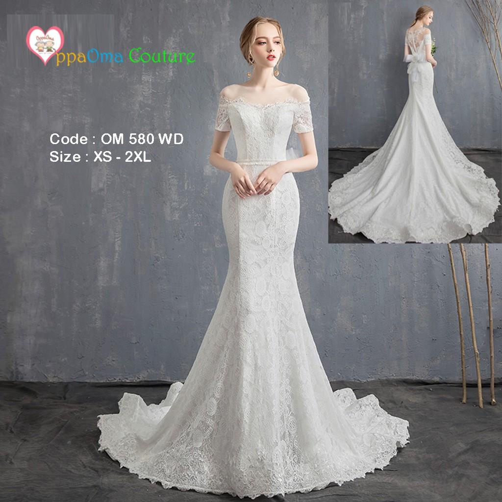 Gaun pengantin ekor model duyung oppaoma OM 11 WD