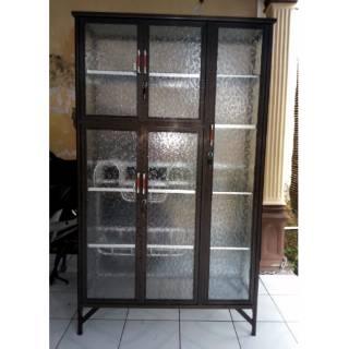 Dapur Rak Piring Aluminium 3 Pintu Frame Coklat Kaca Es 95-159 .