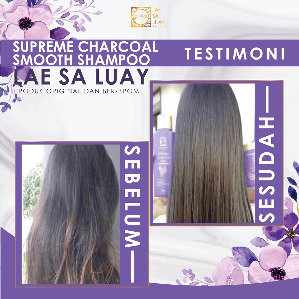 BPOM Lae Sa Luay Supreme Charcoal Smooth Shampoo / Keratin Shampoo 200ml-3