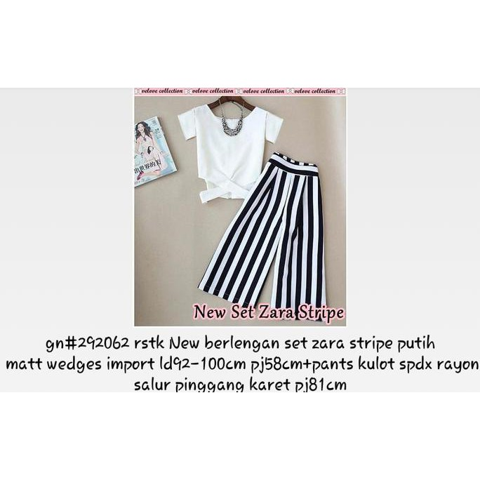 Set Zara Stripe Lengan Shopee Indonesia