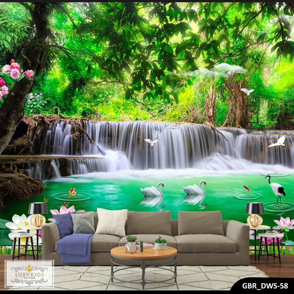 WALLPAPER 3D WALLPAPER CUSTOM WALLPAPER DINDING AIR TERJUN 3