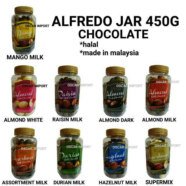 Coklat Alfredo Jar 300gr / Cokelat Toples / White Chocolate / Dark Chocolate / Milk Choco