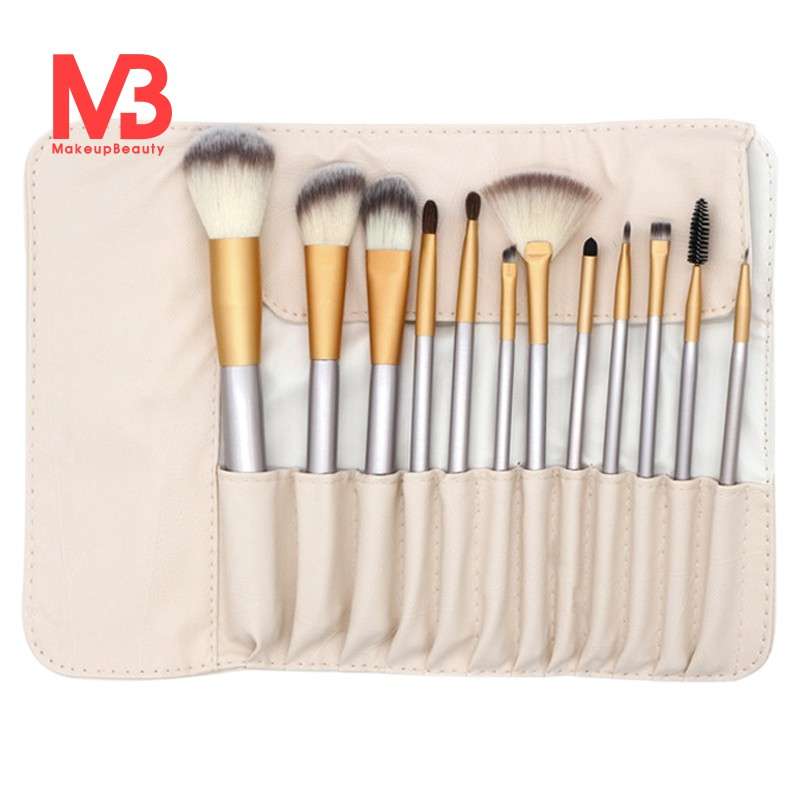Cod 12 Pcs Makeup Brush Set Champagne
