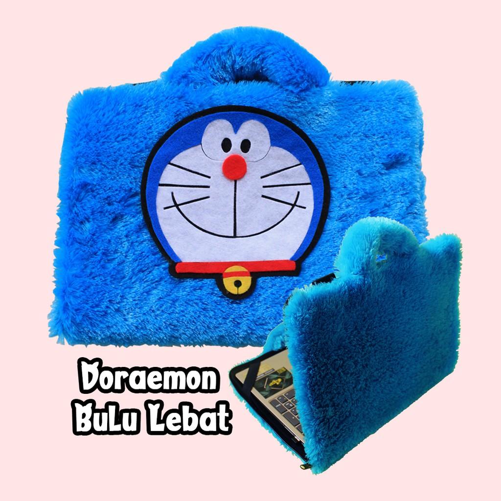 Tas Laptop Doraemon Biru Bulu Lebat 10 17 Inch Lucu Unik Murah Wanita Kartun Animasi