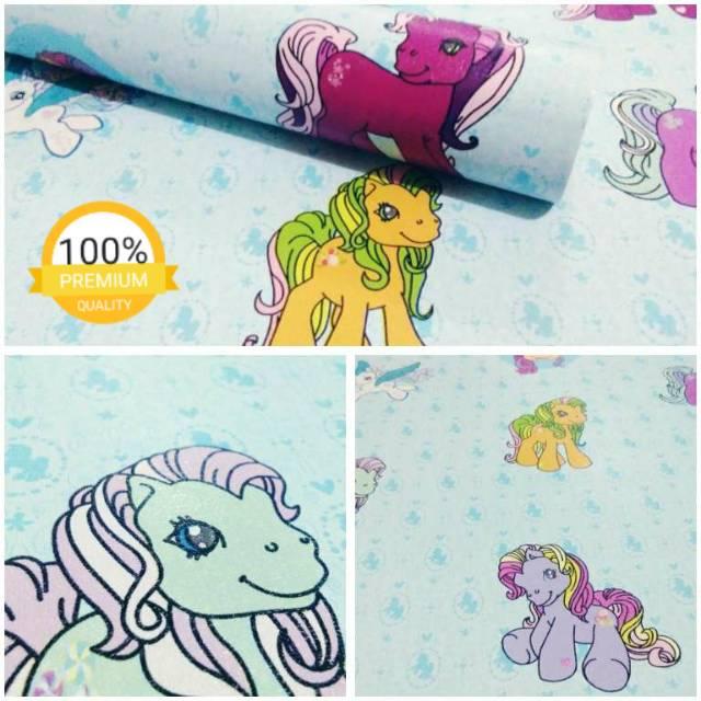Wallpaper Dinding Murah Motif Little Pony Biru Lucu Untuk Kamar Anak Kesayangan Anda Shopee Indonesia