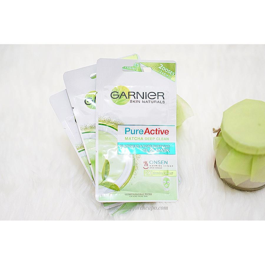 Garnier Pure Active Matcha Deep Clean Clay Mask Sachet Shopee 50ml Indonesia