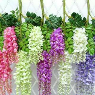 bunga plastik hias wisteria artificial dekorasi wedding