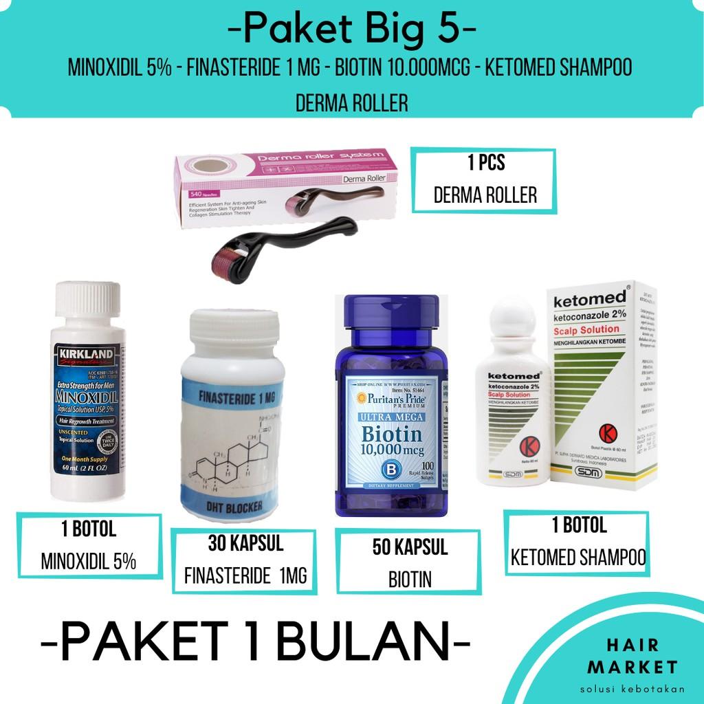 Big 5 Minoxidil Finasteride Biotin Ketomed Dermaroller Solusi Kebotakan Shopee Indonesia