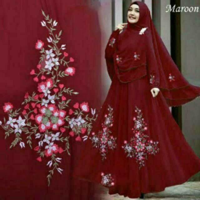 Gamis Bella Syar'I Coksu-Maroon / Baju Gamis Wanita Terbaru - Coksu Maroon, Allsize Fit L   Shopee Indonesia