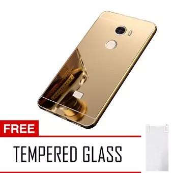 Case Metal Alumunium For Xiaomi Redmi 4A Bumper Mirror Slide - Rose Gold + Free Waterproof