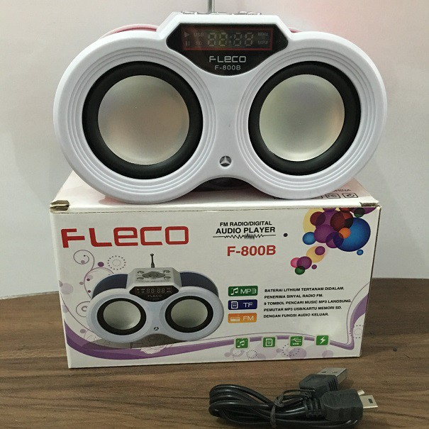 Speaker Teropong Pemutar Musik MP3 Fleco F800B Radio Digital Tombol | Shopee Indonesia