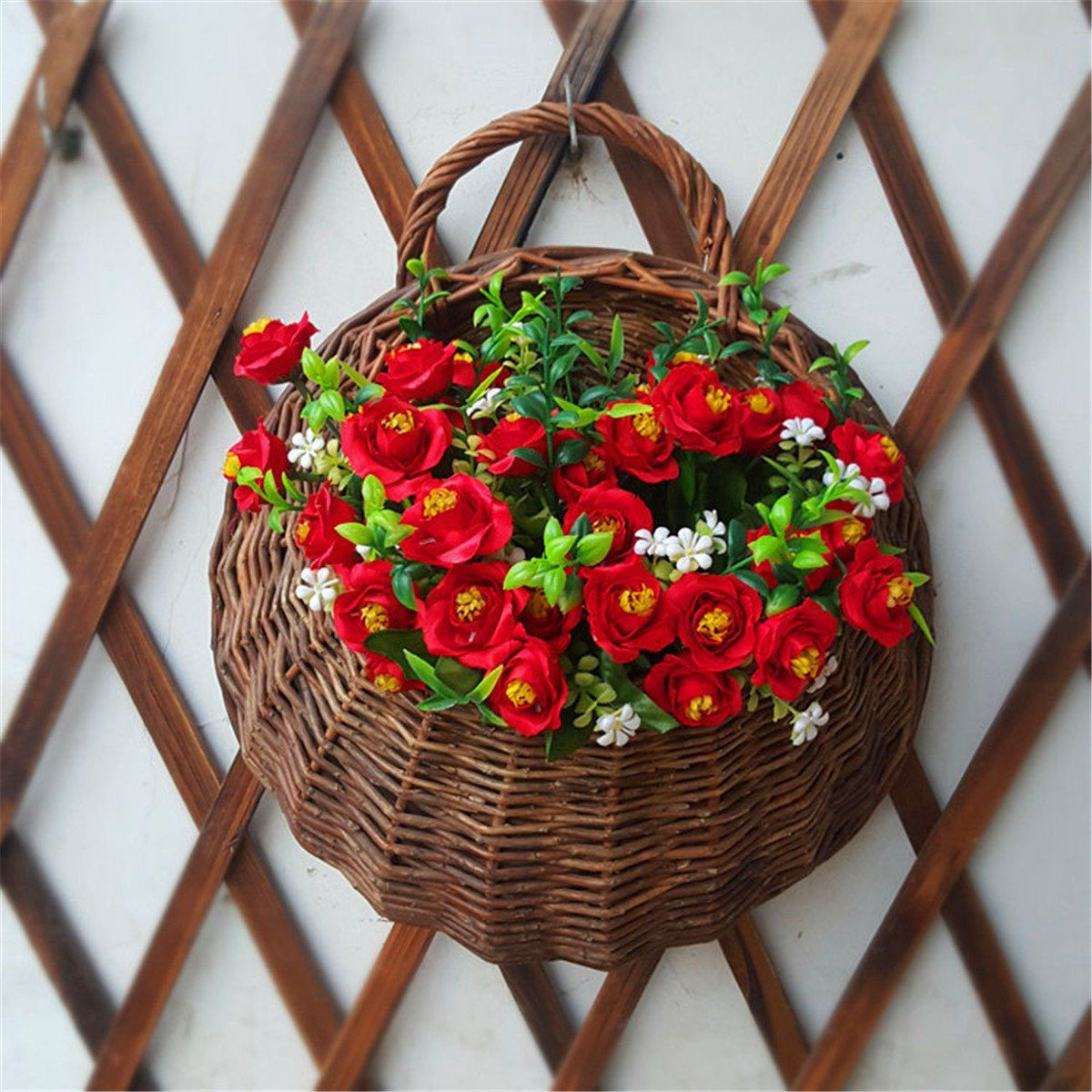 Artificial Flowers Wall Mounted Basket Wall Hanging Plant Pots Wicker Wall Basket Hanging Planters For Garden Wedding Wall Home Decoration Door Decor Shopee Indonesia