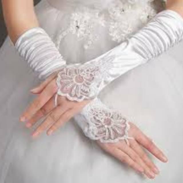 Sarung Tangan Pesta Wedding Full Satin Putih Stp 003 Shopee