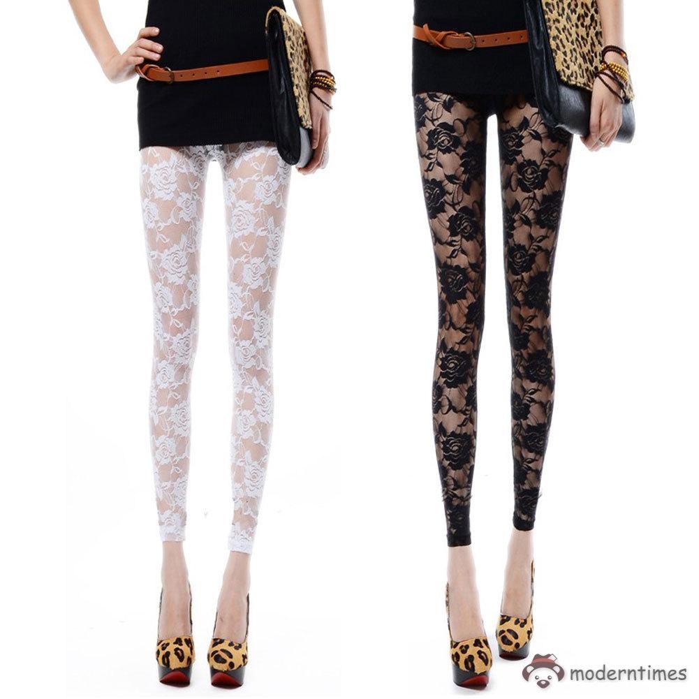 Celana Legging Panjang Wanita Elegan Bahan Lace Motif Bunga Mawar Shopee Indonesia
