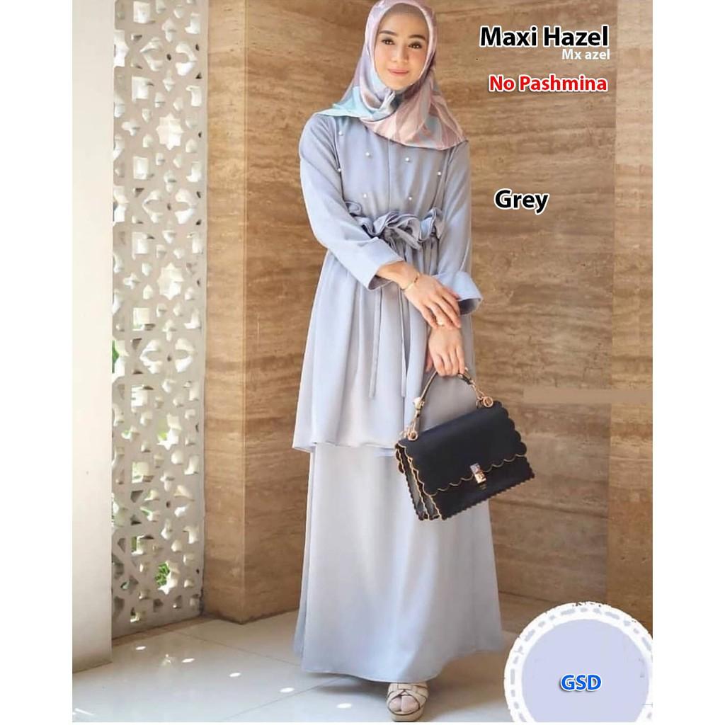 baju terusan wanita casual/gamis mutiara jahit serut depan/maxi dress  muslim terbaru/MAXI HAZEL