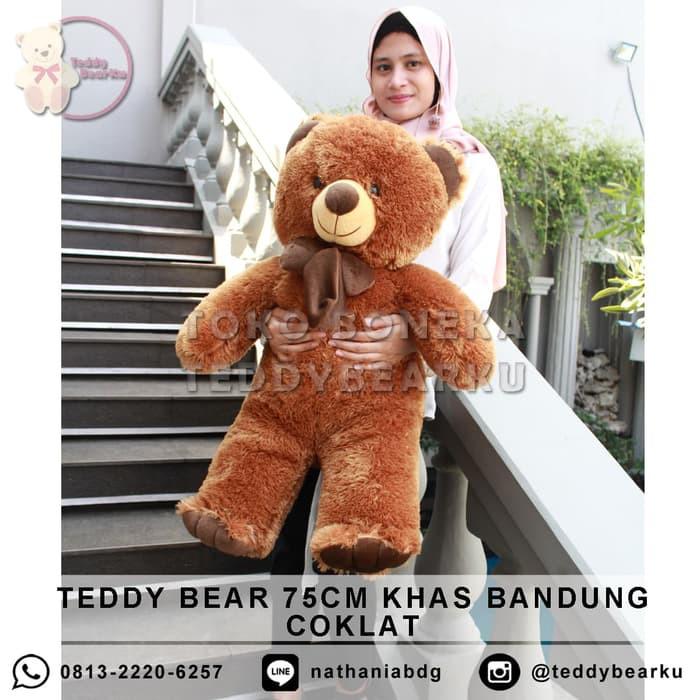 Teddy Bear Boneka Teddy Bear Beruang 75cm Khas Bandung Cream Coklat ... 729a71197b