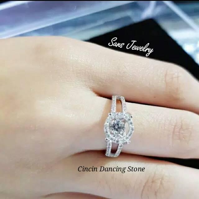 Promo Cincin Dancing Stone Silver Perhiasan Aksesoris Korea Anti Karat Kilat Ready Import Adc Tgb SL   Shopee Indonesia