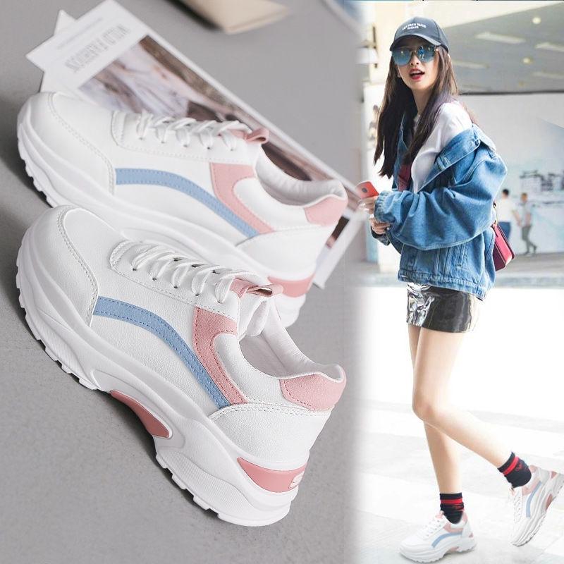 Sepatu Sneakers Wanita Casual Warna Putih Untuk Musim Semi