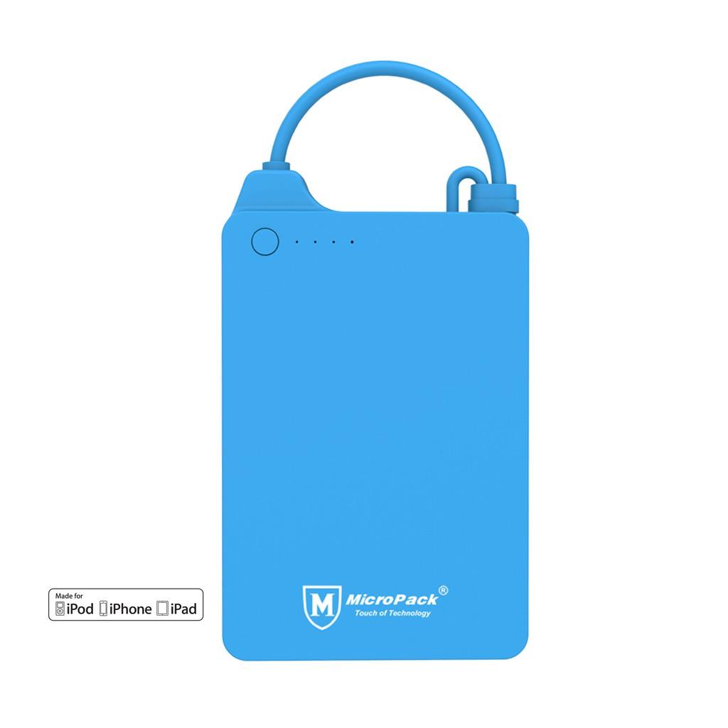 Power Bank MFI 4.000 mAh Li-Polymer Built-in Cable Micropack PB4000i Blue