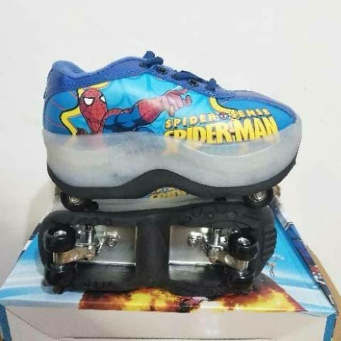 Sepatu Roda Empat 4 Anak Cowo Karakter Spiderman Impor Promo Murah Oke 28 Biru Laki Laki Cowok Shopee Indonesia