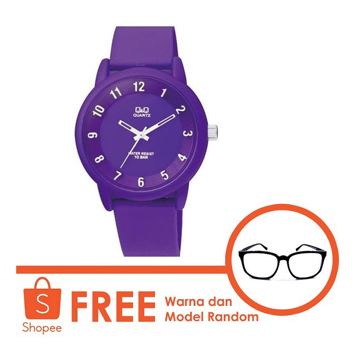 Q Q Jam Tangan Unisex Strap karet VR90j004Y free kacamata  06781c3f29