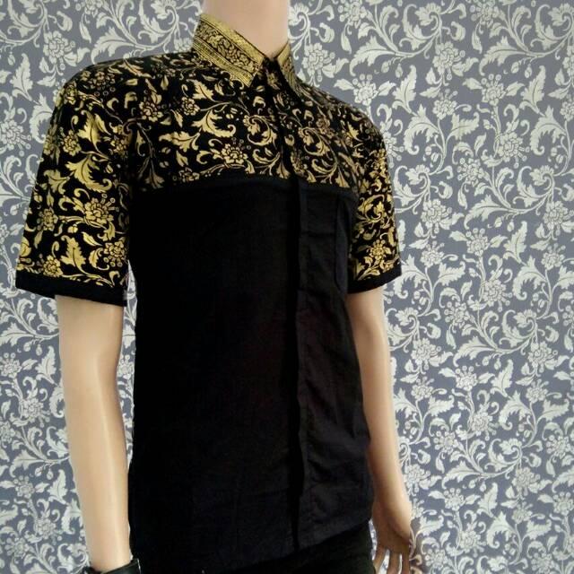 Batik Pekalongan Modern Original Hem Batik Kombinasi Prada Emas Batik Kantor Batik Kekinian