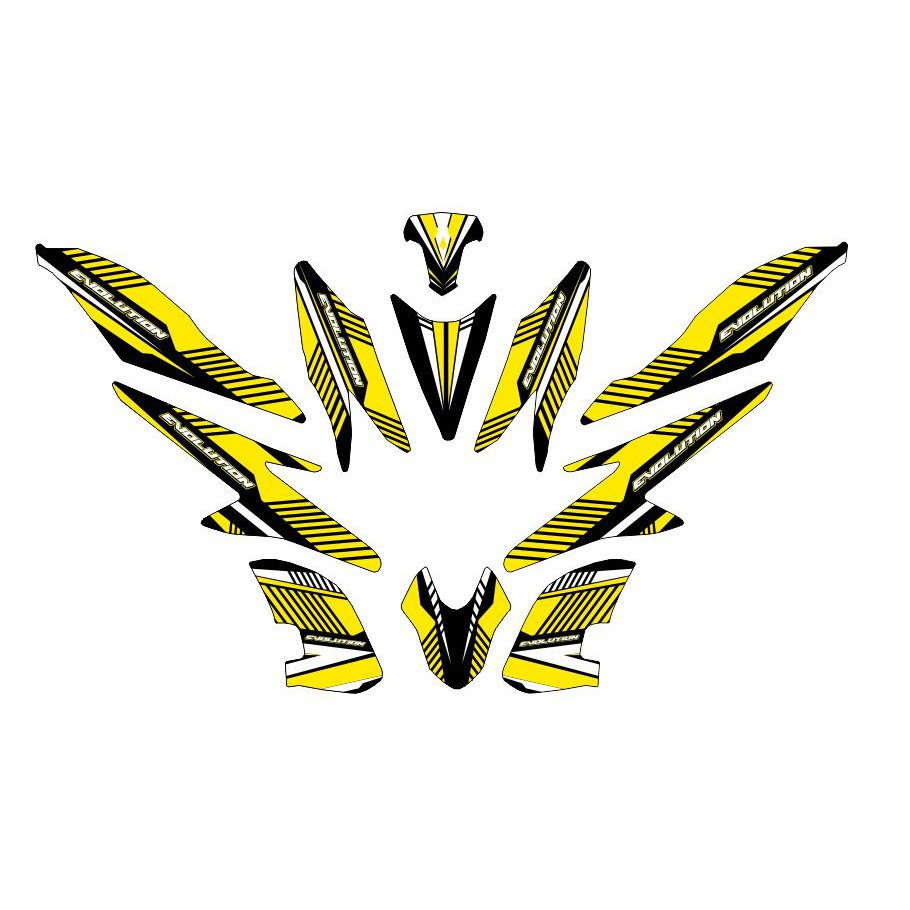 Decal stiker r25 yellow racing sport whitestriping sticker motor shopee indonesia