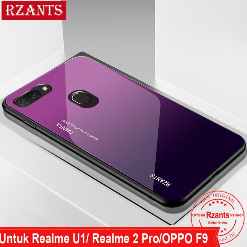 Oppo F9 / F9 Pro/ Realme 2 Pro/Realme U1 Casing Hard Case Belakang Bahan  Tempered Glass Tipis